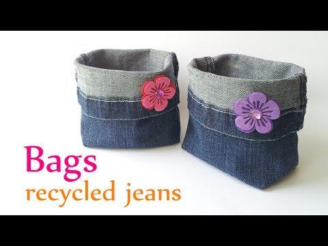 sacchetto porta trucchi con jeans riciclati