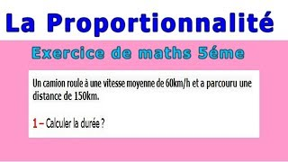 Maths 5ème - La proportionnalité la vitesse Exercice 3