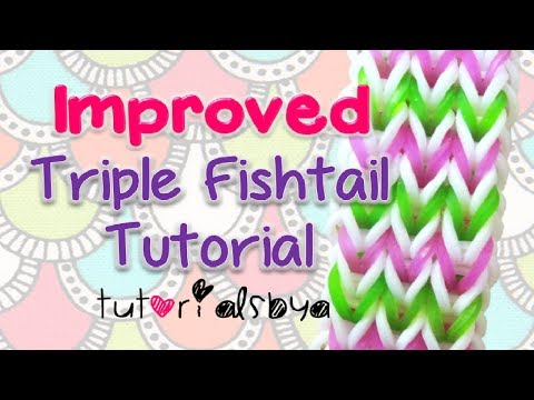 NEW & IMPROVED Triple Fishtail Bracelet Rainbow Loom Tutorial- EASY VERSION