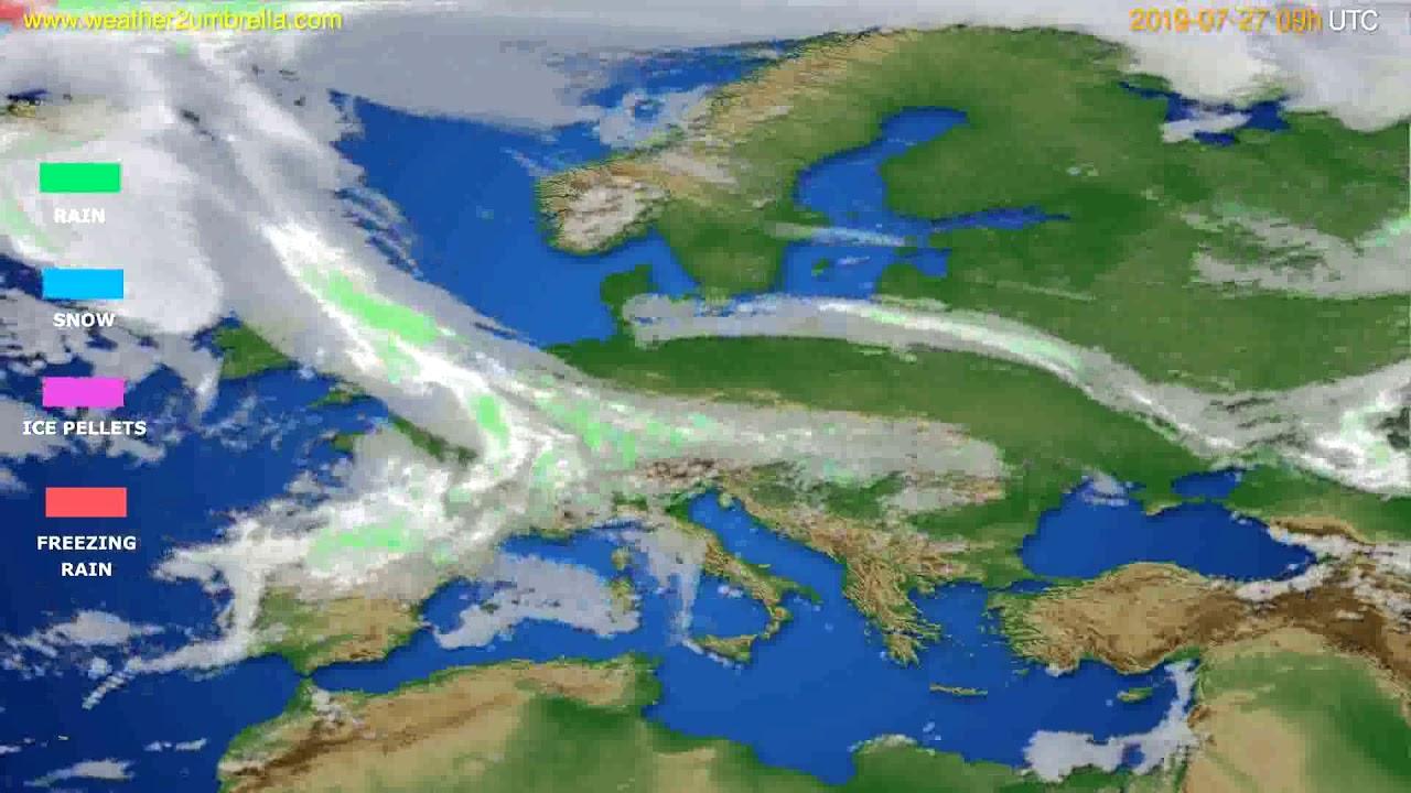 Precipitation forecast Europe // modelrun: 12h UTC 2019-07-25