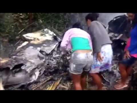 Vídeo mostra os destroços do avião de pequeno porte que caiu em Uruburetama