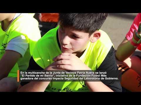 """En la multicancha de la junta de vecinos Patria Nueva se lanzó """"El Partido de mi Barrio"""", iniciativa de la Fundación Futbol Más ganadora del concurso Impacta Seguridad del Laboratorio de Gobierno."""