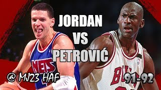 Boxscore: http://www.basketball-reference.com/boxscores/199202110CH... ----- MJ 34pts, 6reb, 7ast, 4stl, 2blk Petro 23pts,...