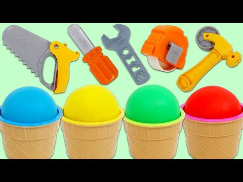 4 Color Play Doh Ice Cream Surprise Cups Opening Using Toy Tool Playset!