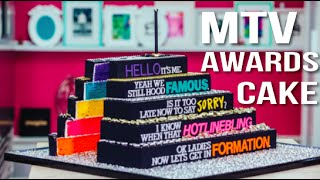 How To Make A 2016 MTV AWARDS CAKE! Vanilla Cake With Italian Meringue Buttercream for the VMAs!