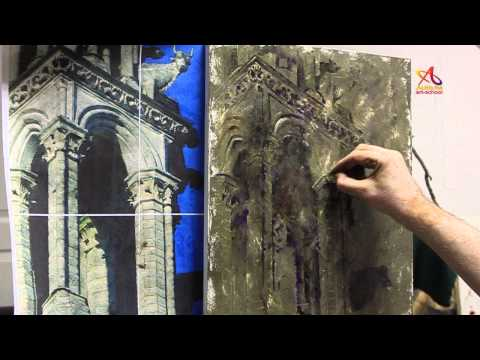 Painting video lessons - Notre Dame by Vladimir Illichov time lapse