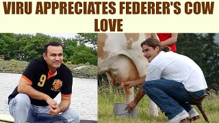 Virender Sehwag posted three pictures of the Wimbledon 2017 champion Roger Federer with cows on social media.