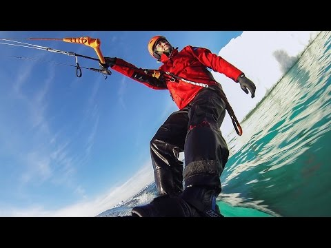 Kite Surfing Among Icebergs