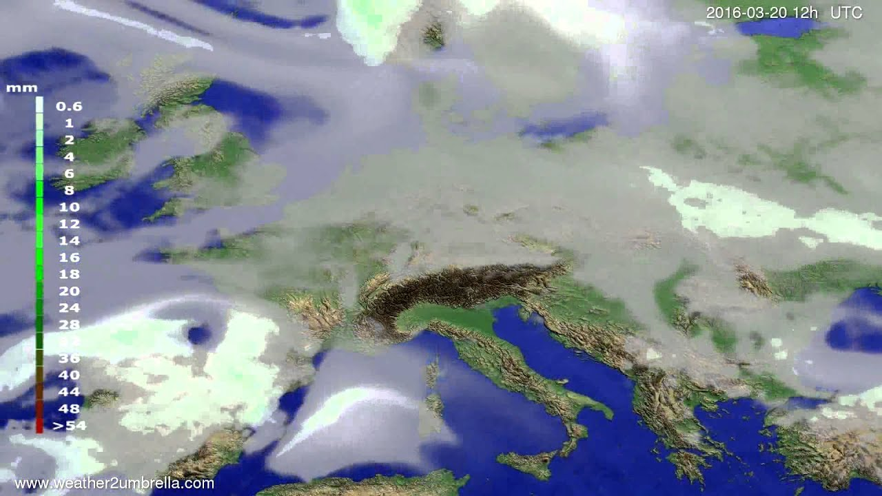 Precipitation forecast Europe 2016-03-16