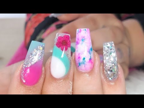 Super Pretty Spring Acrylic Nails  Real Dried Flowers  Sharpie Nail Art