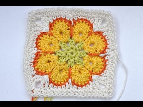 granny spirale - http://www.nadelspiel.com/ * We are starting a little fundraising for Somalia. This video shows you, how to crochet the modified African Flower Granny Square...