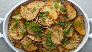 Roasted Garlic Parmesan Potatoes Servings: 4 - 6 INGREDIENTS 3 russet potatoes, sliced 4 tablespoons olive oil Salt, to taste ...