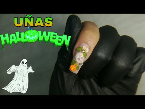 Uñas acrilicas - UÑAS ACRILICAShalloween*CALAVERA 3D Acrílico(nail art) 2019