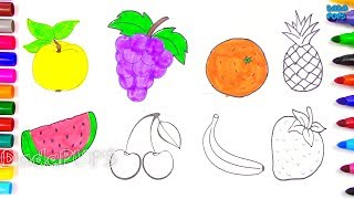 Let's draw Apple-yellowGrapes - purpleBanana - yellowStrawberry-redPineapple - brownOrange - orangeCherry - redWatermelon slice-redfor children learn colors. Each fruit in this pictures has one color, when children see my video, they can guess what color i paint the next step. Is it so interesting? THANK YOU FOR YOUR WATCHING!Click to Subscribe to Dada Pups https://www.youtube.com/channel/UC1Sir-iKkghO5SSguzYC2lgSee other interesting videos:https://www.youtube.com/channel/UC1Sir-iKkghO5SSguzYC2lg/videos