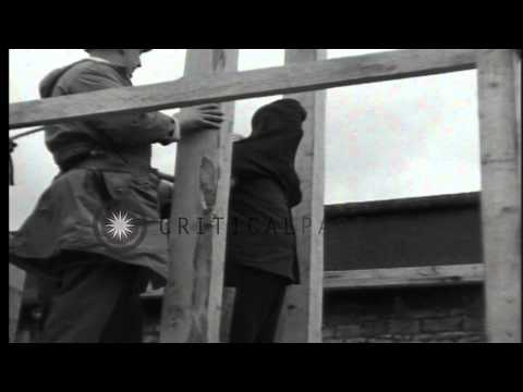 A Nazi war criminal is executed by method of hanging in Bruchsal, Germany for Wor...HD Stock Footage (видео)