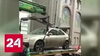 Эвакуатор раздавил автомобиль. Видео