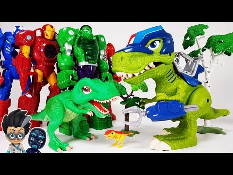 Dino Mecard SD Tyranno & Chomp Squad Troopersaurus, Avengers vs PJ Masks Romeo Battle Toys Play