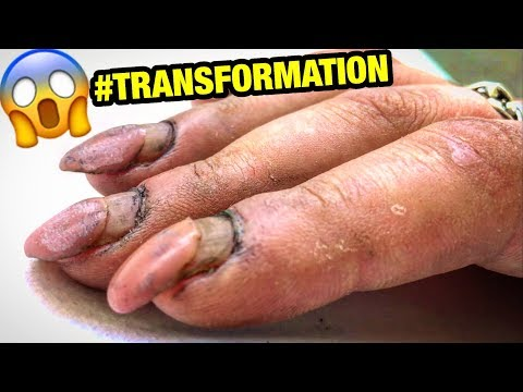 Videos de uñas - DESTROYED NAILS #TRANSFORMATION  HARD WORKER WOMAN GETS CRAZY #RUSSIAN STYLE MANICURE at home