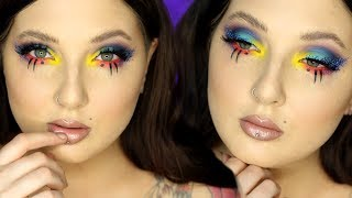 """Bright and neon colors are here for a Summer Glam Makeup look, paired with bold lashes and dotted colorful liner. Like a bird of paradise, but for your eyes. ;) A full face is included in this tutorial, using quite a few more affordable products. Hope you guys enjoyed it, and please subscribe if you haven't already! Share along if you like it, it helps so much! -FOLLOW ME:Instagram: @jordanhanzhttp://www.instagram.com/jordanhanzTwitter: @jordanhanzhttp://www.twitter.com/jordanhanzSnapchat: jordan_hanzFacebook: Jordan Hanzhttps://www.facebook.com/pages/Jordan-Hanz/295184987353909?fref=tsTwitch TV: Jordanhanzhttp://www.twitch.tv/jordanhanzPeriscope: @jordanhanz (for LIVE streaming)________________________________________PRODUCTS USED:Smashbox PrimerizerNYX Cosmetics Total Control Foundation Drops in True BeigeNYX Cosmetics Sculpt & Highlight Face Duo in Caramel/VanillaMelanie Mills Peach Deluxe Gleam Body RadianceBenefit Stay Don't Stray Eyeshadow PrimerMelt Cosmetics Blurr, Promiscuous, Neon, and Radon EyeshadowsSugarpill Mochi, Velocity, and Afterparty EyesahdowsMake Up For Ever AQUA XL Ink LinersFlutter Lashes in style CrazedMake Up For Ever C-807 lashes (for bottom)Madeyewlook Night Owl linerBenefit Gimme Brow in shade 3NYX Liquid Suede in Brooklyn ThornJouer Skinny Dip Lip Topper_________CODES/LINKS:-MAKEUP GEEK COSMETICShttps://www.makeupgeek.com/store/eye-products/eyeshadows/makeup-geek-eyeshadows.html?acc=7f100b7b36092fb9b06dfb4fac360931-MORPHE BRUSHESUse code """"JORDANHANZ"""" for 10% off site wide!http://www.morphebrushes.com-SIGMA BEAUTYUSE code """"JORDANHANZ"""" for 10% off site wide!http://sigma-beauty.7eer.net/c/134412/146780/2835?u=http%3A%2F%2Fwww.sigmabeauty.com%2Fe20-short-shader%2Fp%2FE20PARNT-GERARD COSMETICSUse code """"Jordan"""" for 25% off site wide!http://www.gerardcosmetics.com-NUBOUNSOM Use code """"jordanhanz: for 20% off site wide!http://nubounsom.comMUSIC  SOUNDS:provided by Monstercat: a paid monthly no copyrights song servicehttp://www.monstercat.comIntro"""