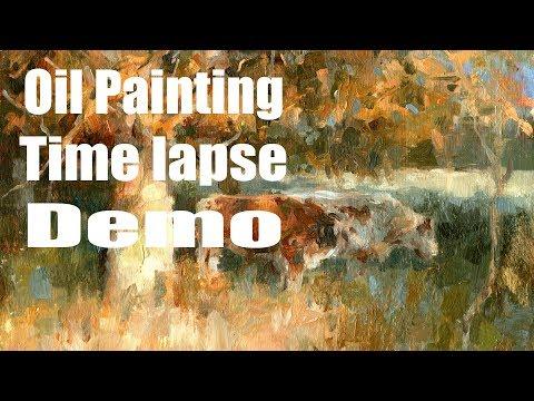 Autumn sun Time lapse Oil Painting Demo