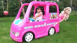 Kid Buys a Giant Barbie Dream Camper Van Vehicle Ride-On Power Wheel