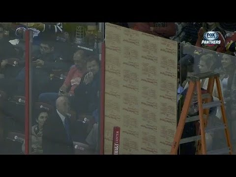 Video: Panthers replace broken glass with plywood