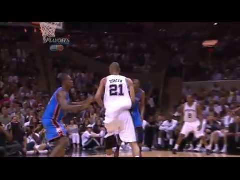 Video: Tim Duncan big dunk over Serge Ibaka (May 29, 2012)
