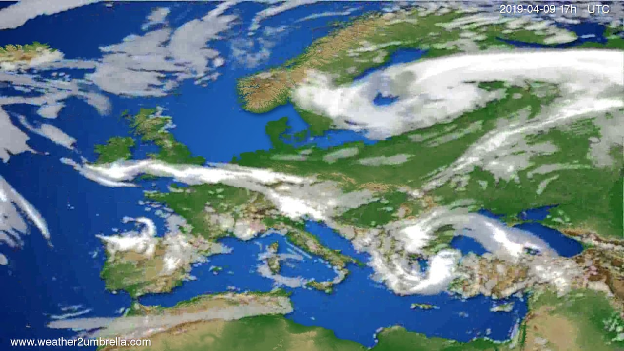 Cloud forecast Europe // modelrun: 00h UTC 2019-04-08