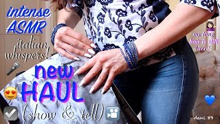 WOW! *** N E W ***  ASMR video: SHOW & TELL : fashion clothing HAUL!  ....NAILS- Tapping and Scratching FABRIC! (pure intense binaural EAR-TO-EAR Italian WHISPERING & soft spoken!).... I'm so happy to show you some of clothing I've purchased recently!  WATCH IT for a very relaxing video!!! 👀I hope you like it and enjoy it for your relaxation! 💤Suggestions are always welcome!!! ...PLEASE leave me comments, share this video with your friends, write me and subscribe on my channel! ♥ I'll really appreciate it!THANK YOU SO MUCH! ❤️I want to make high quality video, with special items and perfect sound, but to do that I also need you!I need your support to be able to buy new tools, particularly new professional microphones (I'd like   3 D i o  microphone!)!!I need your support to improve and grow more and more and at the same time to offer products of higher quality and amazing!I hope to have a helping hand from you who support me and believe in me! Each month I'll publish for you new videos...10-11 at least!The ASMR is a wonderful world that must be supported, especially here in Italy, where it still is not well known. The ASMR gives countless benefits to the people, can help stress, depression, anxiety, sadness. etc.I'll do everything to make you feel better and help you relax! 💤 ----------------------------------------SUPPORT MY CHANNEL----------------------------------------✦ SUPPORT ME with PAYPALif you want help me to improve the quality of this channel:https://www.paypal.com/cgi-bin/webscr?cmd=_s-xclick&hosted_button_id=JLDPTT9GLDES4Thank you very much for your generosity and kindness ❤️✦ PATREON: https://www.patreon.com/dani89---------------------FOLLOW ME---------------------✦ FACEBOOK dani 89: https://www.facebook.com/dani89longnaturalnails✦ INSTAGRAM: https://www.instagram.com/dani89_officialpage/✦ (second channel YouTube) dani ASMR: https://www.youtube.com/channel/UChR0iHoF8N_KRrIyhH-Plig---------------------------------------------------------------For BUSINESS and PRIVATE INQUIRIES---------------------------------------------------------------✎ If you want me to try your products or for any other request, please contact me on ✉ daniela.uptodate@gmail.com