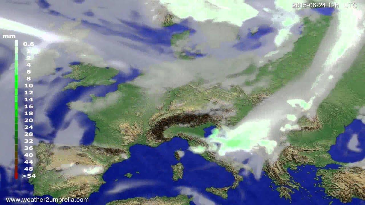 Precipitation forecast Europe 2015-06-21