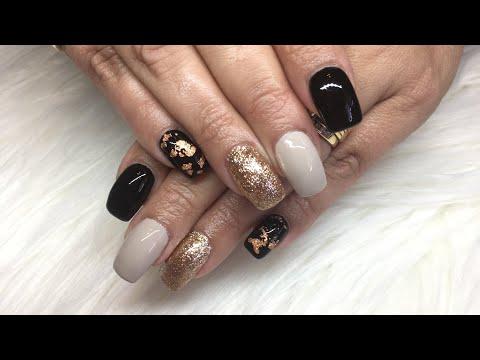 Gel nails - Black/Gold/Foil Nails