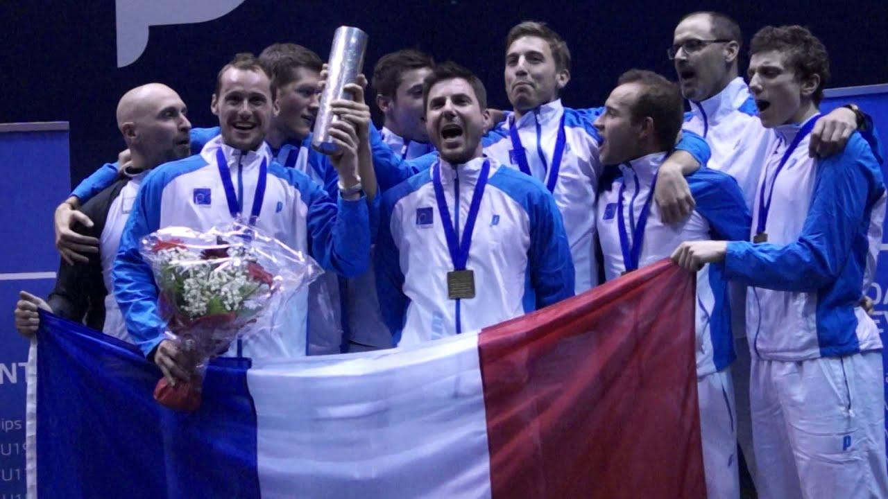 PODIUM EURO SQUASH DANEMARK 2015  – l'Equipe de France chante la Marseillaise