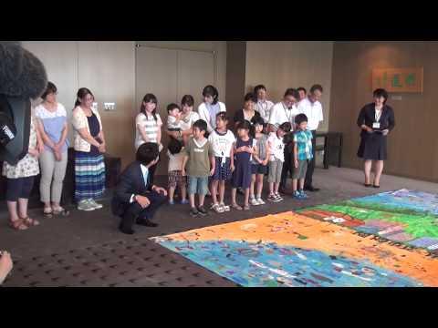 福岡市長高島宗一郎 福岡市立有田小学校より「世界一大きな絵2020」の完成報告・披露されました