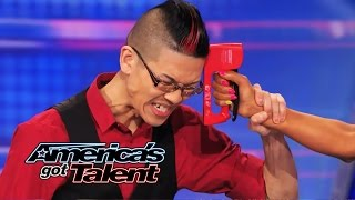 Download Video Rogue: Magician Plays Russian Roulette Game with Mel B - America's Got Talent 2014 MP3 3GP MP4