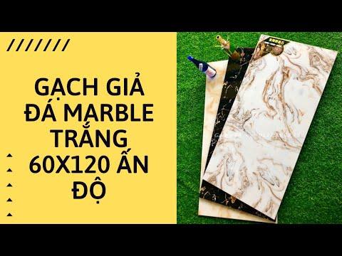 Gạch giả đá marble trắng 60x120 Ấn Độ|Gạch 600x1200 cao cấp giá rẻ.