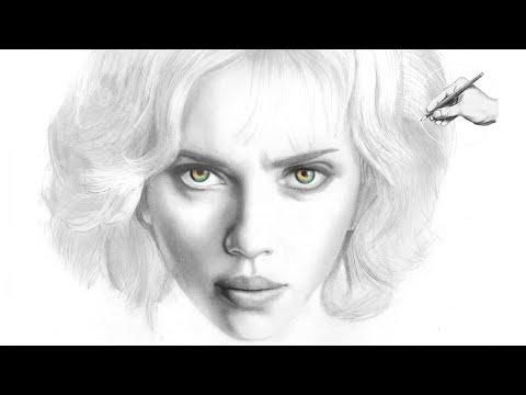 LUCY Scarlett Johansson | ✎ PORTRAIT ZEICHNEN | Speed drawing painting tutorial zeichnen lernen