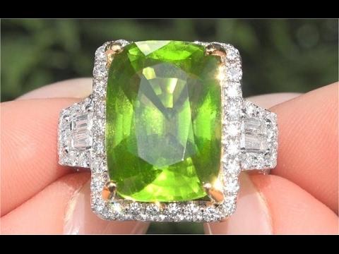 GIA Certified VVS2 Natural Peridot Diamond 14k White Yellow Gold Estate Ring TOP GEM - C120