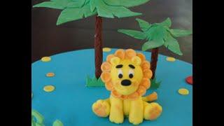Cake decorating tutorial | How to make a fondant lion cake figurine | Sugarella Sweets