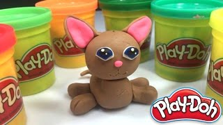 Play Doh - How to make Cat With Play Dough - Learning Colours