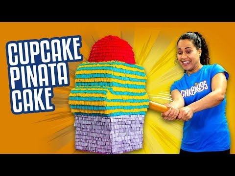 Giant Cupcake Piñata Cake Filled With MINI Fingerlings | How To Cake It