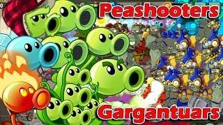 Plants vs Zombies 2 Epic Hack Split Screen Peashooters vs ALL Gargantuars, EA Games, video games