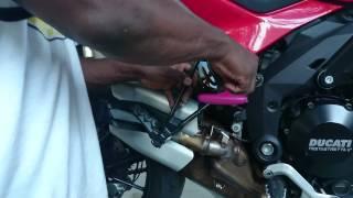 9. Removing the rear wheel on a Ducati multistrada MT 1200