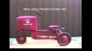 """Information on the AMF Pedal Tractors.  From our video on pedal tractors. It includes a visual descriptive study of each pedal tractor. Check out our facebook page """"Pedal Tractors"""" or our website www.arealdealproductions.com. We carry  a full line of pedal parts and pedal tractors."""