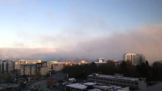 Fog Flowing Off Lake Union to Queen Anne