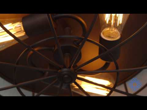 Video for Neo-Industrial Rubbed Bronze Three Light Flush Mount Fixture Ceiling Lamp