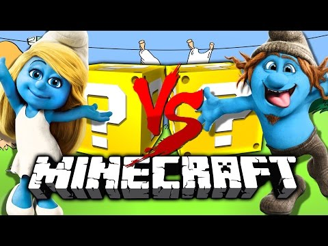 Shooting COWS at SMURFS! *SMURFS* Lucky Blocks! in Minecraft!