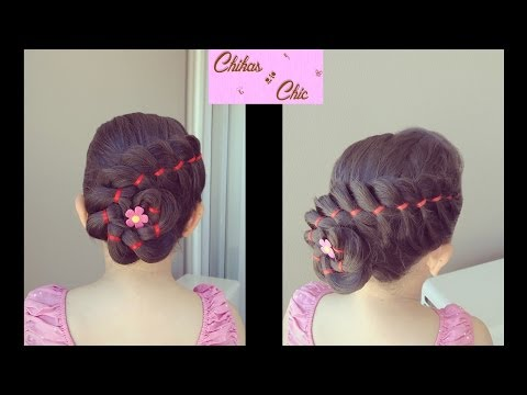 Trenza de 4 Divisiones con Cinta y Flor – 4 Strands Ribbon Braid with Flower | Chikas Chic