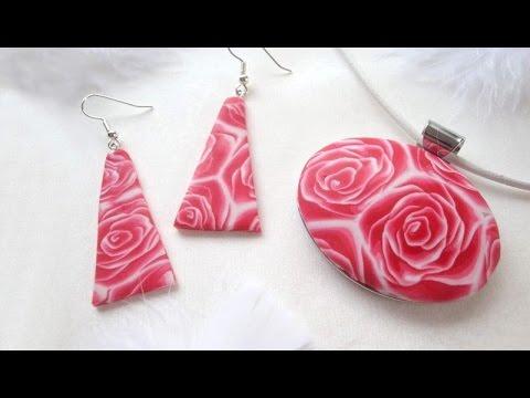 fimo - parure con murrina a forma di rosa