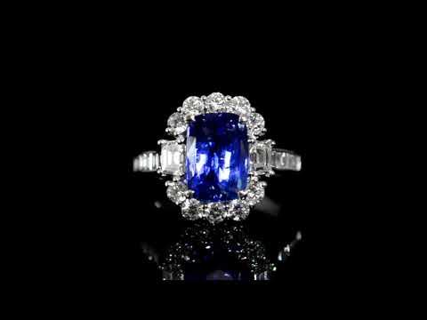 GIA Certified 4.03ct Cushion Cut Unheated Sri-Lanka Blue Sapphire and Diamond Ring