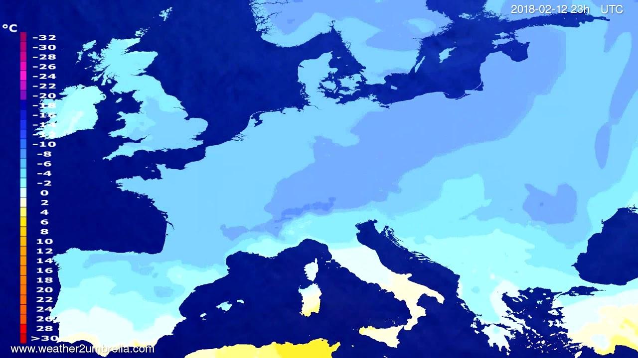 Temperature forecast Europe 2018-02-09
